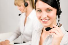 Customer service woman call center phone headset Stock Photos