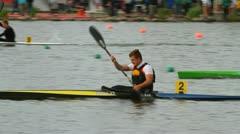 Winning a kayak race Stock Footage