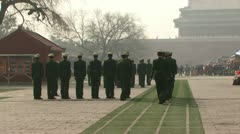 Soldiers on parade in Beijing China Stock Footage