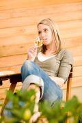 Garden happy woman enjoy glass wine terrace Stock Photos