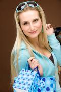 Shopping woman fashion happy bag Stock Photos