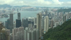 Aerial view of Hong Kong by day, China Stock Footage