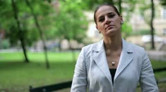 Portrait of serious looking businesswoman in the city Stock Footage