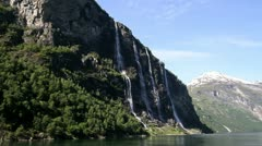 The Waterfall Seven Sisters in Geiranger Norway Stock Footage