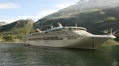Norway - Cruise ship and ferry at Geiranger Stock Footage