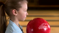 A girl bowling Stock Footage
