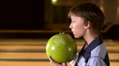 A boy bowling Stock Footage