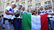 Italian football fans before final match of European Football Championship Stock Footage
