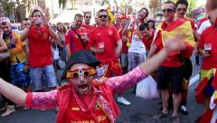 Spanish football fans before final match of European Football Championship - stock footage