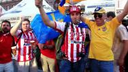 Stock Video Footage of Spanish football fans from Asturias before final match of EURO 2012