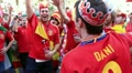 Spanish football fans before final match of European Football Championship HD Footage