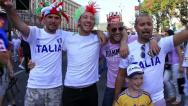 Italian football fans before final match of European Football Championship Stock Footage