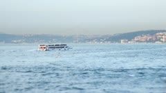 ISTANBUL, TURKEY: Tilt&shift miniature look of passenger ferryboat sailing Stock Footage