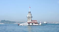 View to the Maiden Tower from from Salacak coast, Istanbul, Turkey. Stock Footage