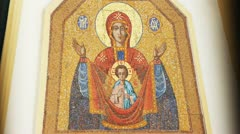 The mosaic icon of the Mother of God with baby Jesus. Stock Footage