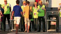 Stewards at the entrance on Olympiyskiy stadium before final match of EURO 2012 - stock footage