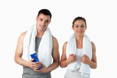 Couple going to practice sport - stock photo