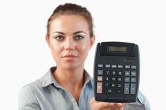Female accountant presenting calculator Stock Photos