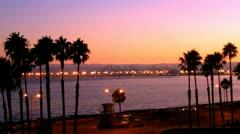 Long Beach California Harbor At Dusk Stock Footage