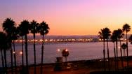Stock Video Footage of Long Beach California Harbor At Dusk