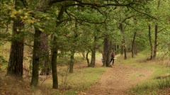 A couple walking in the forest Stock Footage