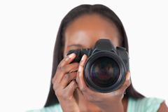Close up of young female photographer Stock Photos