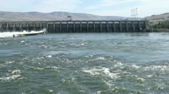 Pan of the John Day dam on the Columbia River Stock Footage