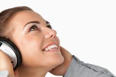 Close up of businesswoman enjoying music Stock Photos