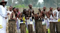 Tribal dancers perform traditional song, dance & drumming in Rwanda, Africa. - stock footage