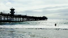 Seal Beach Wooden Pier And Pacific Ocean 2 Stock Footage