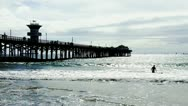 Stock Video Footage of Seal Beach Wooden Pier And Pacific Ocean 2