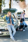 Wheel defect man helping two female friends Stock Photos