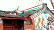 Closeup on Chinese Buddhist Temple Panned Stock Footage