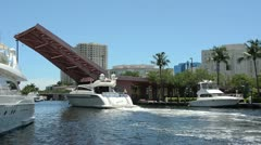 Luxury yachts on Florida Waterway Stock Footage