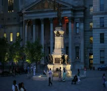 Place d'Armes in Montreal Stock Footage