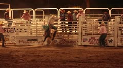 Rodeo bull rider fails time night P HD 1193 Stock Footage