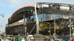 BROOKLYN, NY - FEBRUARY 15, 2012:  The Barclays Center is constructed in Stock Footage