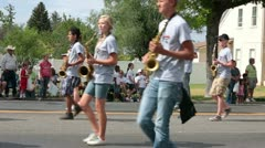 Rural community high school marching band parade P HD 1198 Stock Footage