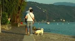 elderly couple strolling with dog - stock footage