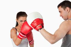 Stock Photo of Female boxer with strong fighting spirit