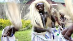 Tribal dancers perform traditional Intore spear dance in Rwanda, Africa. - stock footage