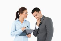 Business partners talking about data - stock photo