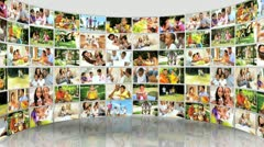 Montage 3D video wall images young multi ethnic family  Stock Footage
