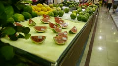 Watermelon at the mall supermarket. Stock Footage