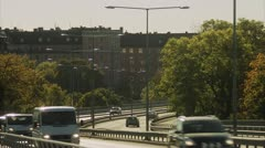 Traffic on a bridge, Vasterbron, in Stockholm Stock Footage