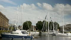 Boats  st. Katherines Dock London Clouds Timelapse 2 Stock Footage