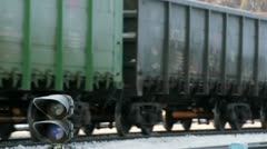 Rail road in winter city near business center Stock Footage