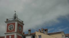 Roofs Old Buildings Clouds Timelapse Stock Footage