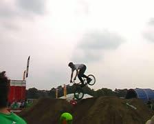 Bikes jump track Stock Footage