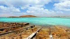 Balearic formentera island Illetes Illetas beach with turquoise sea Stock Footage